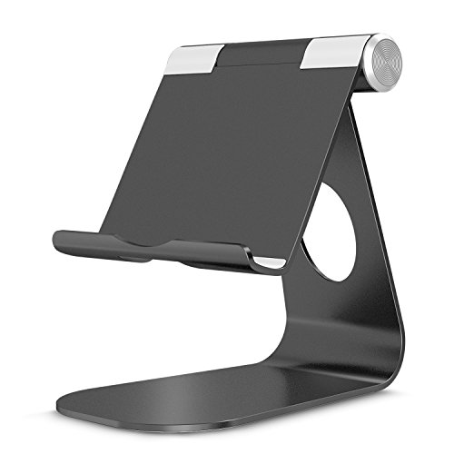 OMOTON Stand for Nintendo Switch, Tablet, Multi-Angle Aluminum Holder, Particular Cut Out for Convenient Charging, Also Fits All Smart Phones, E-readers and Tablets (Up to 10.5 inch) (Black)