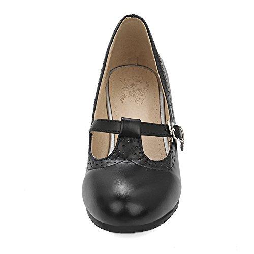 Basso Scarpe T TAOFFEN Donna Pompe Scarpe Stringate Dolce Strap Black Tacco q8wxHr8tn4