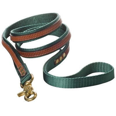 Woofwerks Cooper Overlay Leash, 3/4-Inch by 6-Feet, Hunter Green