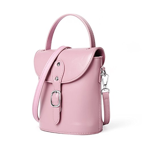 Pockets Shoulder Pink Dissa Women Soft Q0966 Bag Leather Handbags Multiple YxqXUwBqrZ