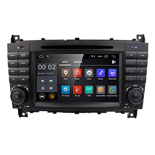 C-class Dash - 7 inch Dash Android 8.1 Car Stereo DVD Player 2 Din Head Unit GPS Navigation for Mercedes Benz C-Class W203 CLC Class CLC W203 CLK Class W209 Support GPS Sat Nav, DAB+, BT, RDS Radio, SWC, 4G WiFi