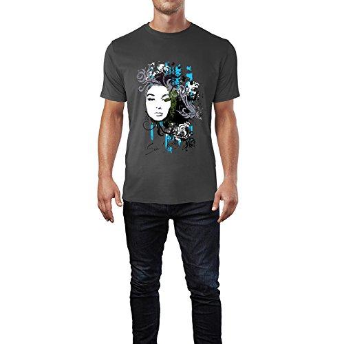 SINUS ART® Collage mit Frau und dekorativen Elementen Herren T-Shirts in Smoke Fun Shirt mit tollen Aufdruck