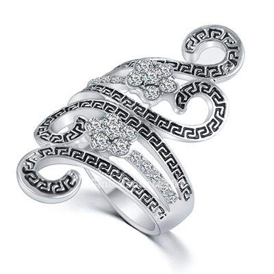 Ring Rhinestone Fashion Flower (FidgetFidget Womens Fashion Rhinestone Flower Ancient Greek Key Pattern Ring RI1000 Silver 9)