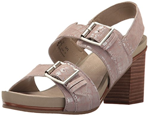 (Hush Puppies Women's Leonie Mariska Heeled Sandal, Metallic Crocodile Suede, 8 M US)