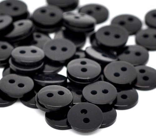 areeratshop Resin Sewing Button Scrapbooking Round Black Two Holes 9mm(3/8
