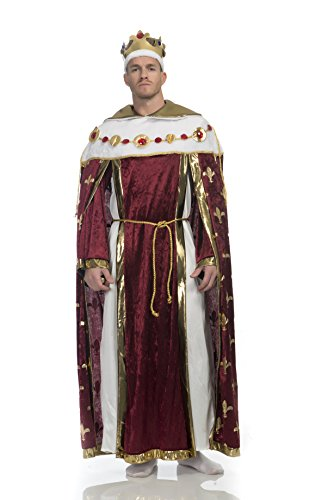 Charades Men's King's Robe Costume and Crown, Burgundy, X-Large
