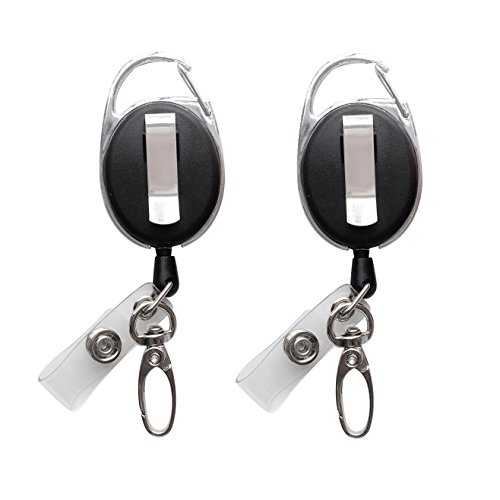 - Retractable Badge Reel with Claw Clasp and Clip for Id Card Holders (2Pack)