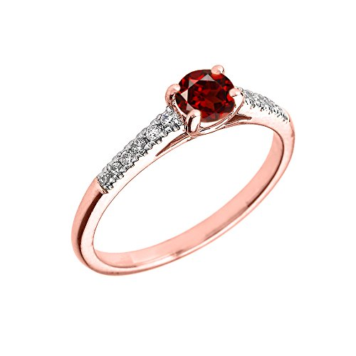 Bague Femme/ Bague De Fiançailles 10 Ct Or Rose Diamant Et Grenat