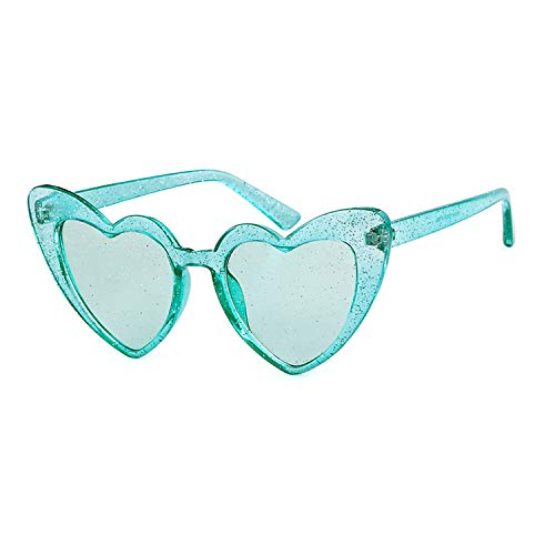 Clout Goggle Heart Sunglasses Vintage Cat Eye Mod Style Retro Kurt Cobain Glasses (Blue -
