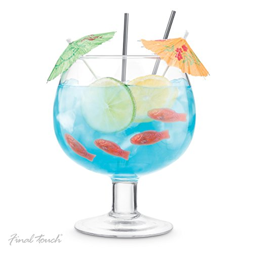 Final Touch Fishbowl 1.3 Liter (44 Ounce) Glass (Punch Set Bowl Glass Carnival)