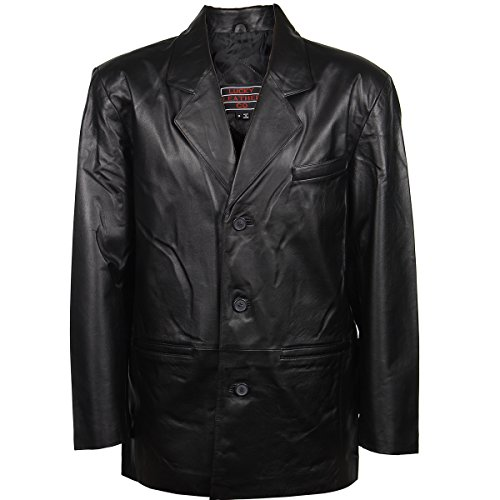 Lucky Leather Mens 3 Button Classic Black Leather Blazer - X-Large