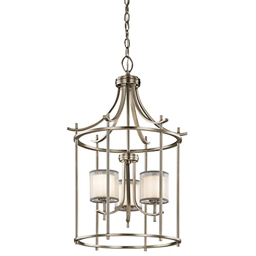 Chandeliers 3 Light with Antique Pewter Finish Steel Candelabra 20 inch 180 Watts