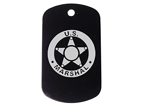 Black Dog Tag Kit With 24'' Chain & Silencer US Marshal - Marshal Black