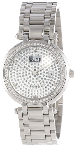 Burgi Women's BUR078SS Stainless Steel Pave Pattern Diamond Bracelet Watch