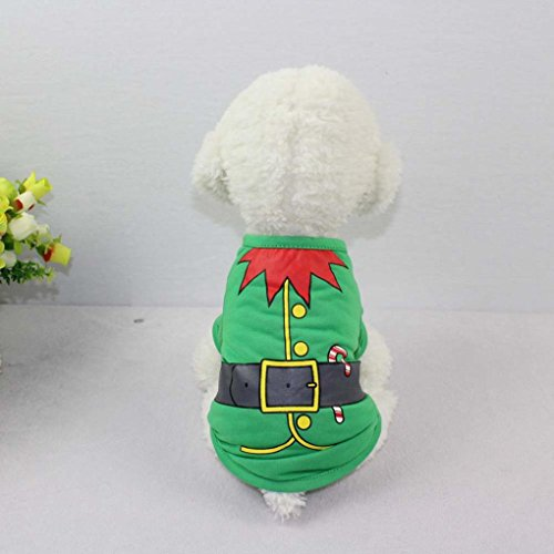 - IEason Pet Clothes, Pet Dog Puppy Santa T-Shirt Christmas Clothes Costumes Vest (S, Green)