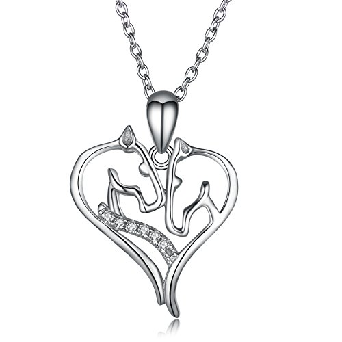 Angel caller Horse Necklace Sterling Silver Cubic Zirconia Horse Head Heart Shape Pendant Necklace for Women Girls, 18