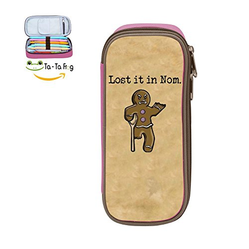 (bagshome Large Capacity Canvas Pen Case Multi-Colored for Women,Print Lost It in Nom,Pink)