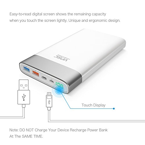 electrica Bank Vinsic 20000mAh mega slimmer External Battery with Qucik Charger Pack twice USB convenient Charger Backup Type C bright USB Outputs for All Smartphones iPhone 6 5 4 iPad iPod Samsung methods Android bright smartphones Tablet PCs White Wall Chargers