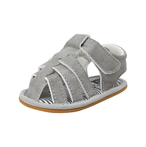 Por 3-18 Meses, Auxma El niño de las sandalias de los muchachos del bebé friega los primeros caminante calza los zapatos Gris