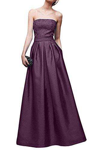 Lang Festlichkleider Traube Satin mia Spitze Elegant Brautmutterkleider La Braut Abendkleider Ballkleider A Jugendweihkleider Linie ZO78wWaqnW