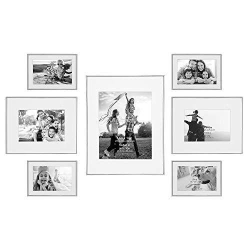 (Stonebriar Decorative Silver Steel 7 Piece Photo Frame Set, Wall Hanging Display, Modern Gallery Wall)