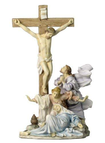 Veronese Collection The Crucifixion Scene Jesus at The Cross 12 Inch Statue
