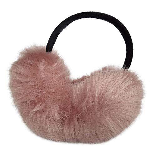 Womens Faux Rabbit Fur Earmuffs Winter Outdoor Ear Warmers Girls Earmuffs,Foldable (Skin Pink)