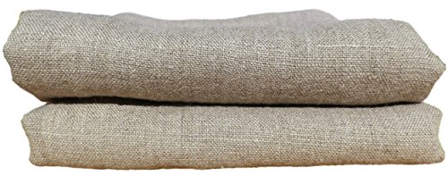 Set of Two 100% Pure Softened European Flax Linen Huckaback Tea Towels (Natural, Hand/Face Towel (16