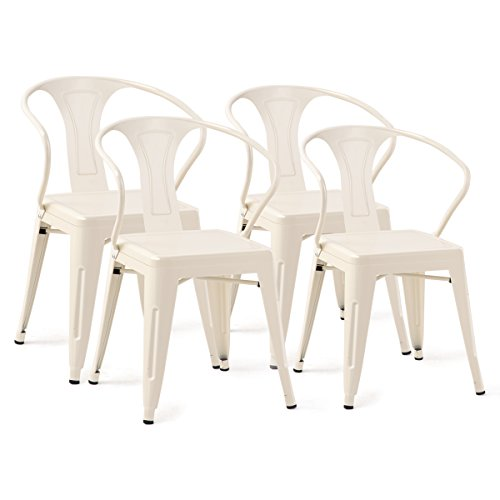 Costway Tolix Style Dining Chairs Industrial Vintage Chic Metal Stackable High Back Indoor Outdoor Dining Bistro Café Kitchen Arm Side Chairs (Matt White Set of 4) (Back Stackable High)