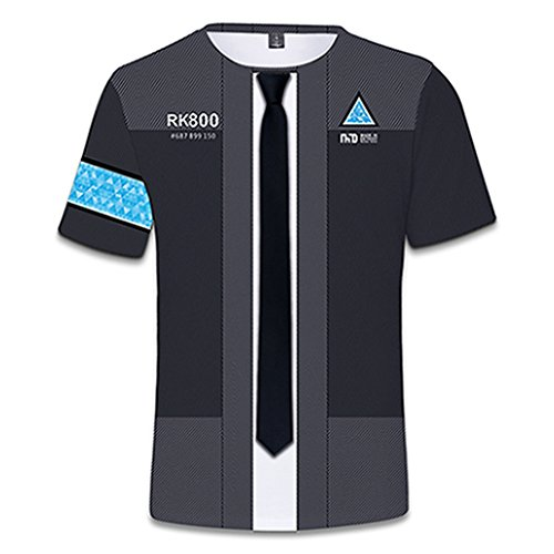 Game Detroit Connor Human Robot Print T Shirts Cosplay Costumes -