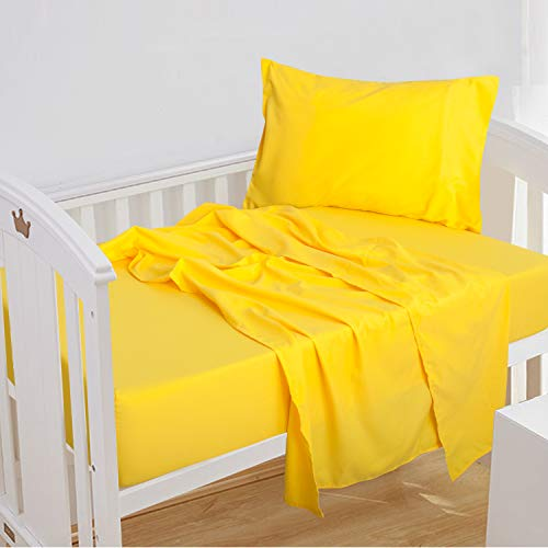 - NTBAY 3-Piece Toddler Sheet Set, Microfiber Fitted Sheet, Flat Sheet and Envelope Pillowcase, Crib Sheets Set, Toddler Bed Set, Baby Bedding Sheet & Pillowcase Sets, Yellow