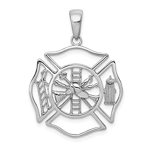 - 14k White Gold Fireman Shield Pendant Charm Necklace Career Professional Firefighter Man Fine Jewelry Gift For Dad Mens For Him