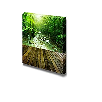 Canvas Prints Wall Art - Wooden Platform and Tropical Mountain Stream with Sunbeam in a Morning | Modern Home Deoration/Wall Art Giclee Printing Wrapped Canvas Art Ready to Hang - 24