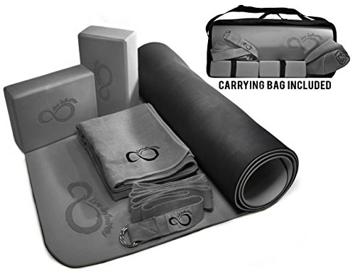 Live Infinitely Complete 6 Piece Yoga Set by 6mm Dual Layer Non-Slip TPE Yoga Mat, 2 EVA Foam Blocks, 9' Cotton Strap, Mat Sized Exercise Towel & Carrying Case- Perfect Kit For Any Yogi (Dark Grey) ()