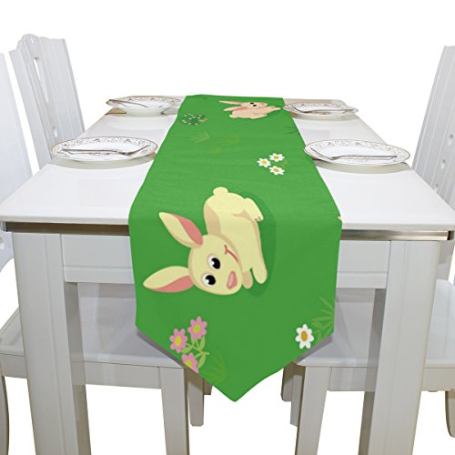 ALAZA Easter Rabbit Collection Table Runner For Dinner Parties, Valentine's Day Decor Country Holiday Birthday Wedding Party 13 x 90 inch by INGBAGS (Image #1)