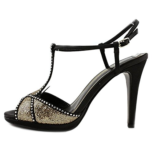 Caparros Womens Ecstasy Canvas Open Toe Casual T-Strap, Black Gold, Size 8.0