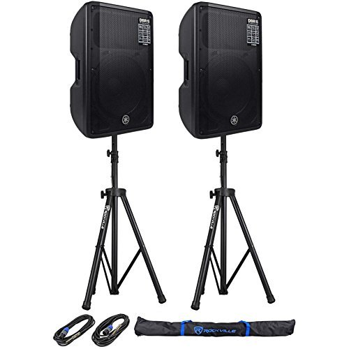 (Yamaha DBR15 - DBR Series 2-Way Bi-amp Powered Speaker Pair with a Pair of Tri-Pod stands with Bag and a Pair of 20ft Microphone Cables )