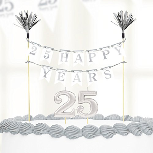 (amscan Sparkling Silver Anniversary Cake Decorations & Candles)