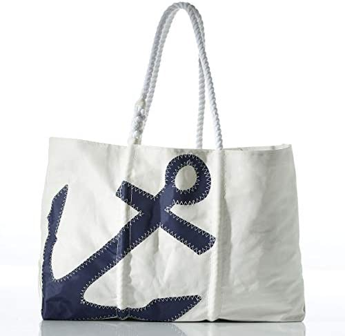 Sea Bags Recycled Sailcloth Navy Anchor Tote – Anchor Bag Nautical Tote – Large Travel Tote – 14 h x 6 w x 18 l