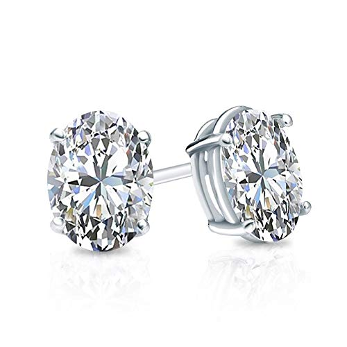 - bbamjewelry Certified 4 CT. TW. 4-Prong Basket Oval Cut Real Moissanite Stud Earrings In 14K White Gold Plated