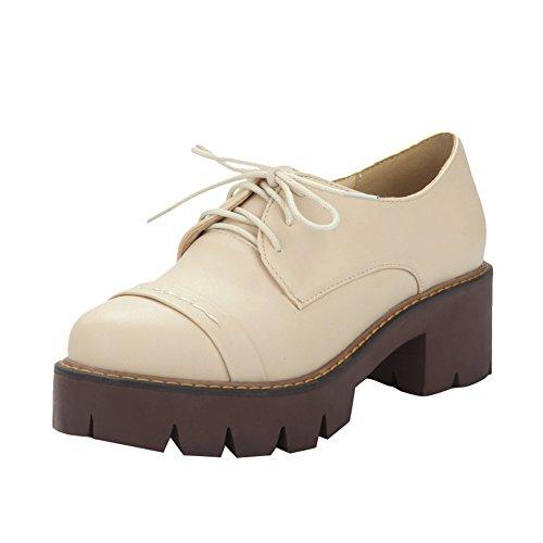 Latasa Kvinna Mode Plattform Snörning Chunky Klackar Oxford Skor Beige