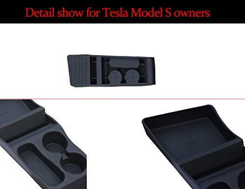 topfit Portable Silicone Center Container Cup Holder Compatible Model S Center Console Storage Box(Black New Version)