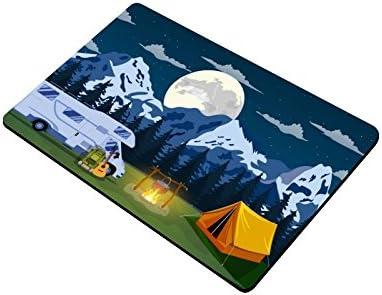 ADEDIY Non Slip Door Mat Flat illustration Camping Trailer Travel Machine Washable Doormat Indoor Outdoor Floor Mat 23.6×15.7 Inch Home Office Bedroom