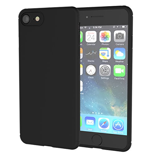 Price comparison product image iPhone 7,8 Case, Hotbin Slim-Fit Flexible Protective Rubber Thin TPU Matte Case for iPhone 7,8 - Matte Black