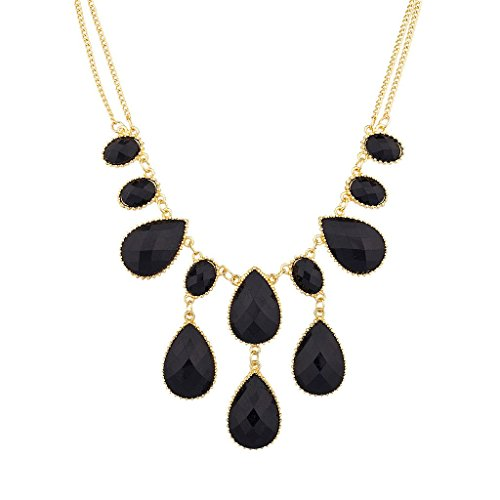 Lux Accessories Black Waterfall Stone Statement Necklace