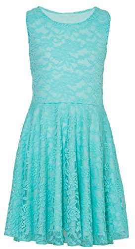 Wonder Girl Skater Dress Big Girls' Elegant Floral Lace and Lining Aqua LF 10 (Aqua Floral Dress)