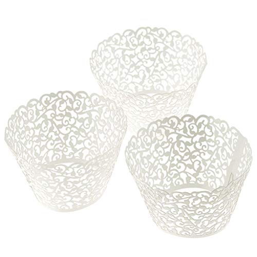 Cupcake Wrappers 120pc New Filigree Artistic Bake Cake Paper Cups Little Vine Lace Laser Cut Liner Baking Cup Muffin Case Trays for Birthday Decoration Wedding Party (White)