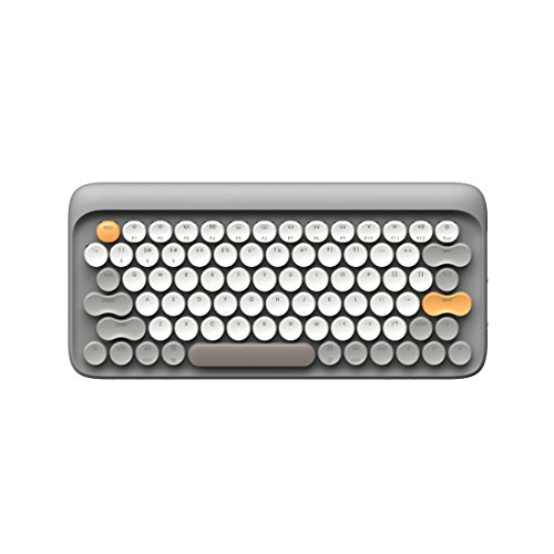 (Bluetooth Mechanical Keyboard, Vintage Keyboard Retro Keyboard LOFREE Four Seasons Wielress Keyboard for Mac, Android, Windows with Gateron Blue Switch and Rechargeable Battery (Grey))