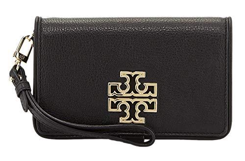 Tory Burch Womens 60417 Britten Smart Phone Wallet Snap Wristlet Phone Case Wallet, Black/Rolled Gold