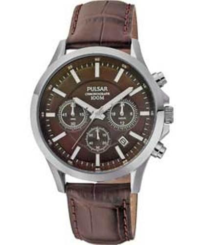 Pulsar Modern - Reloj analógico de caballero de cuarzo con correa de piel marrón (cronómetro) - sumergible a 100 metros